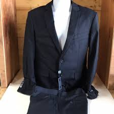 Braveman Suit Jacket Pants Navy Blue Dbl Button Boutique