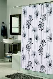 flocked shower curtain cologne white black