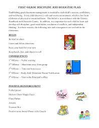 Behavior Ement Plans For Elementary Students First Grade
