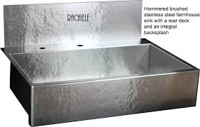 hammered stainless farmhouse sink with rear faucet deck and integral backsplashstainless steel trough commercial manufacturers