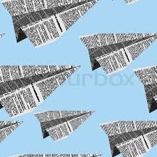 Newsprint Texture Background Paper Planes Seamless Pattern On A Stock Vector