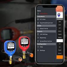 Elitech Pt 500 Pt 800 Wireless Refrigeration Digital Manifold Gauge Set Hvac A C Pressure Temperature Gauge With Removable Temperature Test Clip 1 8