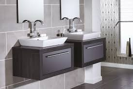 gloss gloss modular bathroom furniture collection. Quantum Square Elegant Sit-on Basins, With Midnight Grey Gloss Drawer Units And Black Linear I-line Framing. Modular Bathroom Furniture Collection O