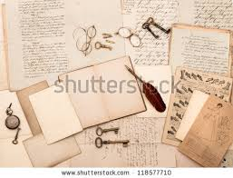 vine accessories and open book with old letters nostalgic fashion background