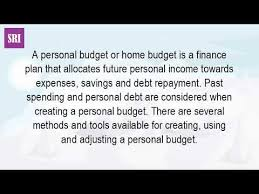 Personal Household Budget What Is A Home Budget Youtube