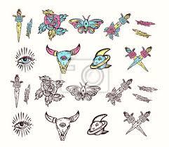 Fototapeta Sada Elementů Esoterických Barevných Tetování Lebka Býka Růže