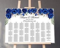 Royal Wedding Seating Chart 2018 Royal Blue Wedding Seating Chart Template By Alphabet Boho