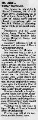 Obituary for Julia L. Summers (Aged 56) - Newspapers.com