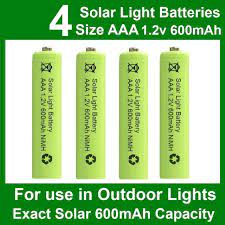 4 x aaa solar light batteries 1 2v