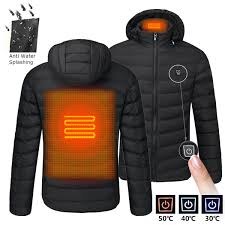 mens usb heated warm back cervical spine hooded winter jacket motorcycle skiing riding coat women cod