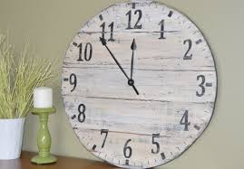 ... Clocks, 24 Wall Clocks Oversized Wall Clock Rustic White Wall Clock  With Black Clockwise Leaning ...