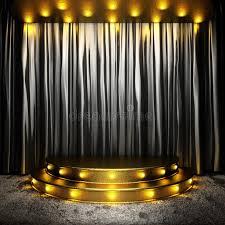 black fabric curtain on golden stage stock ilration ilration of plain deco