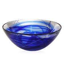 kosta boda  contrast bowl blue large  peter's of kensington