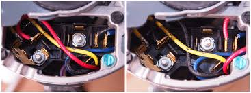 machine refurbishment working by hand wiring for ccw rotation left versus cw rotation right basically the red and black terminal are swapped