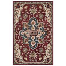safavieh southwestern pattern red and blue area rug 5x8 hand tufted