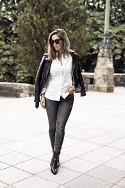 emilie tømmerberg s leather jacket style is an absolute classic the combination of a white shirt