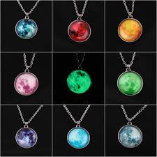 details about women full moon rising moon pendant necklace glow in the dark luminous chain