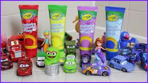 learning colors crayola bathtub fingerpaint soap disney toys cars 3 elmo peppa pig