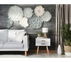 feather wall decor ø40 cm light grey