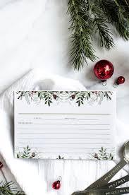 Christmas Recipe Card Christmas Greens Printable Recipe Card Anderson Grant