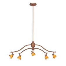 hampton bay 5 light walnut adjule hanging chandelier with art glass shades