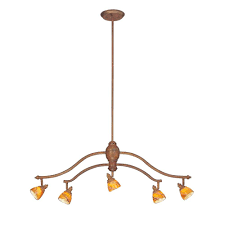 hampton bay 5 light walnut adjule hanging chandelier with art glass shades