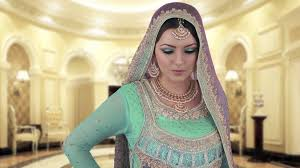 pink and turquoise indian bridal makeup
