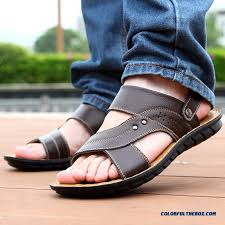 middle aged men s leather sandals breathable open toe beach shoes more images 2