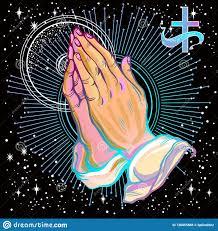 красиво детализировал человеческие руки сложенные в молитве