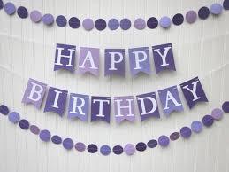 Purple Happy Birthday Banner Happy Birthday Banner Purple Birthday Banner Photo Prop Etsy
