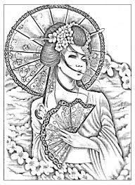 Galerie De Coloriages Gratuits Coloriage Geisha Japonaise A