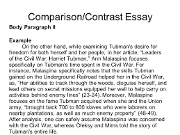 writing portfolio mr butner writing portfolio due date comparison contrast essay body paragraph ii example on the other hand while examining tubman