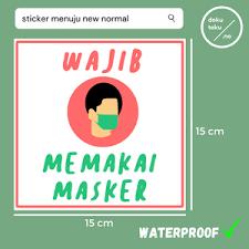 Masker respirator sekali pakai, masker sekali pakai, biru, medis, bahan png. Jual Sticker Wajib Memakai Masker Waterproof Kota Tangerang Dokutoku No Tokopedia