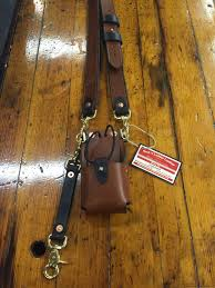 another radio strap headed out to canton ohio for railroad work l brown radio strap with carved text standard radio case