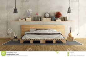 Pallet Bedroom Bedroom With Pallet Night Table Stock Photo Image 85700862