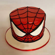 Glorious Spiderman Cake 2kg Vanilla Gift Spiderman Face Mask