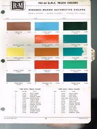 1961 1962 Gmc Truck Color Chip Paint Sample Brochure Chart