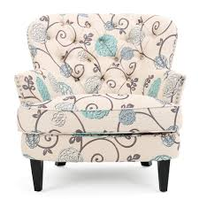 noble house tafton white and blue fl fabric tufted club chair
