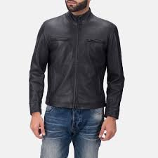 men s austere matte black leather biker jacket 1