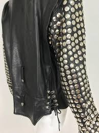 vintage heavily studded black leather motorcycle jacket mens small for 3