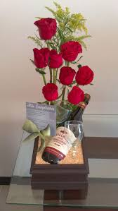 Red Roses, bottle of wine with glass, sent to that special someone for  Valentine's