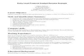 Entry Level Financial Analyst Resume Resume Fresh Senior Financial