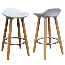 Each stool has a white, ABS plastic seat and naturally finished beech wood  legs,