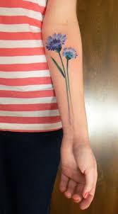 Originální Tetování Kytky Modrá Chrpa Tattoos Blue Flower
