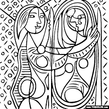Small Picture 100 free coloring page of Pablo Picasso painting Girl Before a