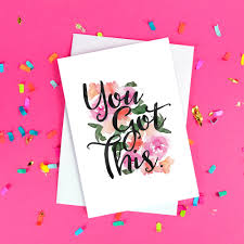 You Got This Good Luck Card New Job Exams Blank Inside Floral Watercolour Calligraphy Free Uk Postage