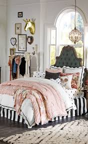 Good Teenage Girl Bedroom Themes And Window Treatments With Tufted Headboard  Also Bedding
