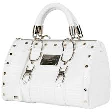 new gianni versace couture white quilted patent leather snap out of it bag for
