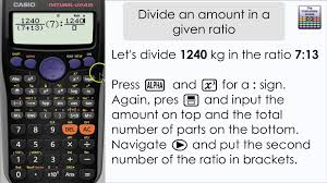 how to divide an amount by a given ratio casio calculator fx 83gt plus fx 85gt plus