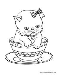 Kitten In Cup Coloring Pages